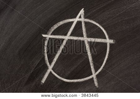 Anarchy Symbol On A Blackboard