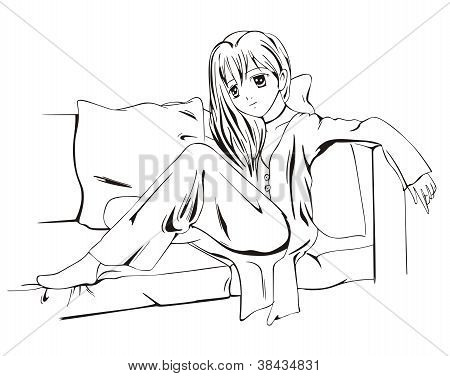 Anime Girl Sitting On Sofa