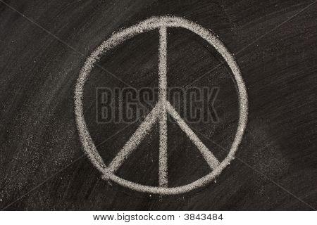 Peace Symbol On A Blackboard