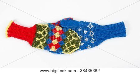 Knitted mittens handshake