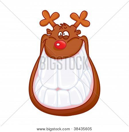 FUNNY REINDEER SMILING ISOLATED