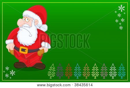 Santa Claus with no money christmas card