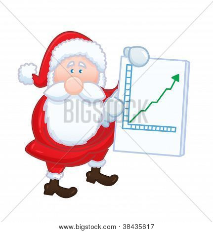 isolated Santa Claus with positive chart