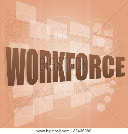 Words Workforce On Digital Screen, Social Job Concept