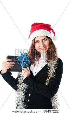 Girl Holds Tablet