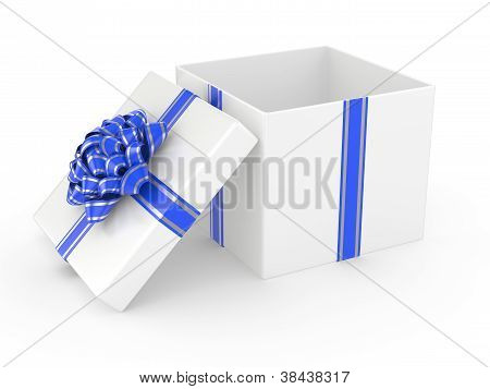Open White Gift Box With Blue Glossy Ribbon Bow