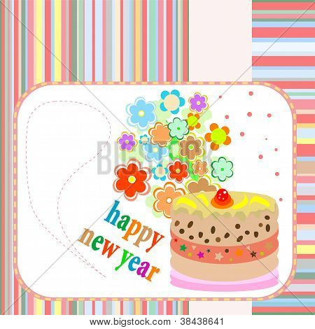 New Year Cakes On Abstract Background With Flowers