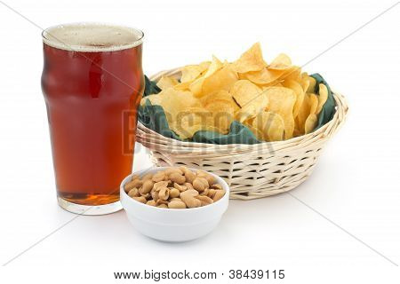 red beer with appetizers