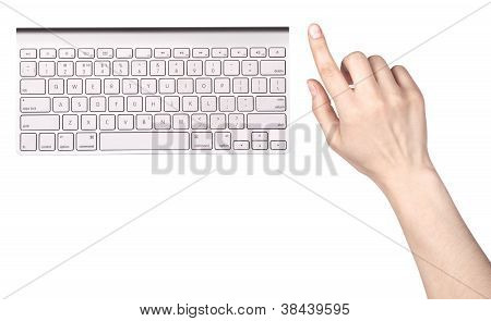 Modern Computer Keyboard And Finger Touching