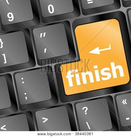 Finish Button On Black Internet Computer Keyboard