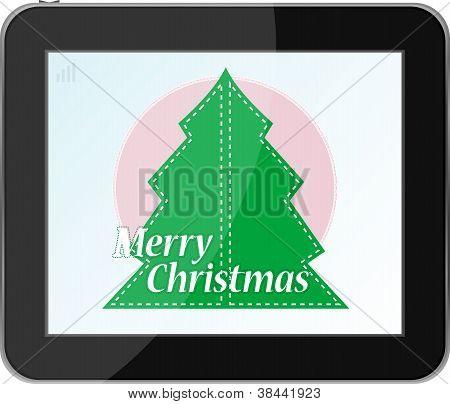 Neujahr und Weihnachtsbaum auf TabletPC