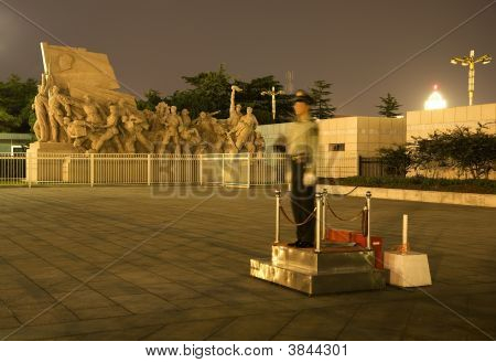 Mao Tse Tung Statue Tiananmen Square Beijing China Night Policem