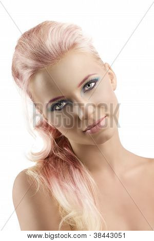 Blonde Girl With Coloured Make-up And Folded Head