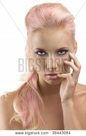 Blonde Girl With Coloured Make-up And Hand On The Face