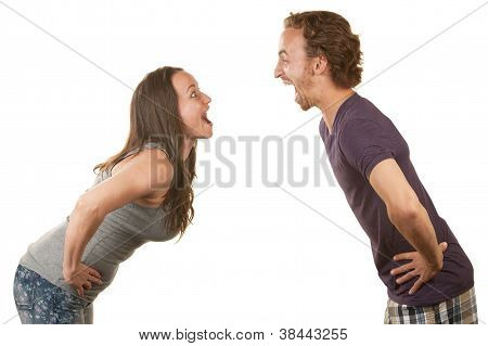 Excited Couple Facing Each Other