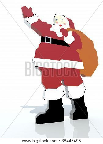 Santa Claus brings presents - isolated on white
