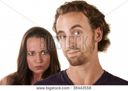 Sneaky Man With Skeptical Girlfriend