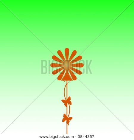 Floral Fluorescent Orange Green