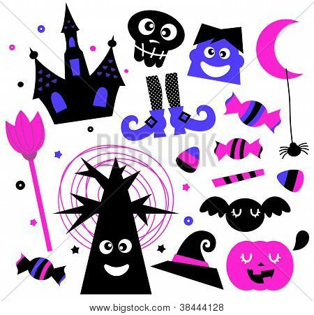 Halloween Elements Set Isolated On White