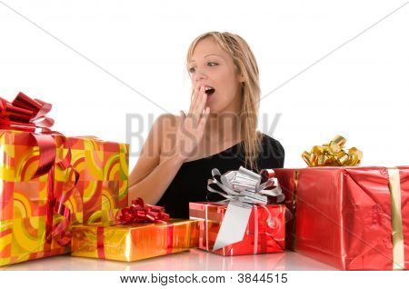 Beautiful Surprise Girl Looks Colorful Gifts