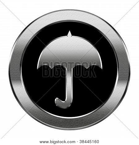 Umbrella Icon Silver, Isolated On White Background
