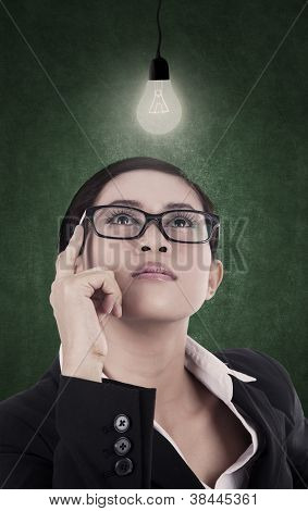 Business Woman Having Bright Lit Idea