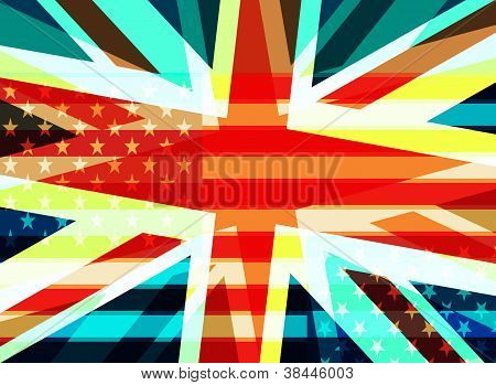 Abstract Uk And Usa Flags