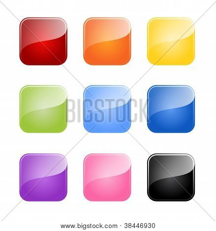 Set Of Colored Glossy Blank Button Isolated On White Background