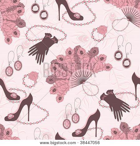 Retro fashion seamless  pattern  with women accessory .