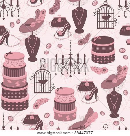 Retro fashion seamless  pattern  with women accessory.