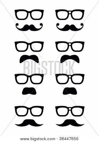 Geek glasses and moustache or mustache vector icons
