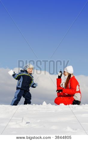 Boy Played With Mother In Winter Park