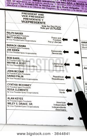 November 2008 General Election Ballot - Choice On Mccain