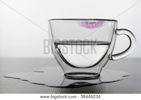 Empty Glass And Lipstick Print