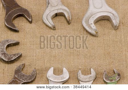 Set Size Wrench Screw Tools On Linen Background