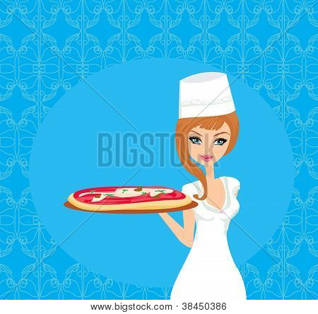 Beautiful Woman Serving Pizza