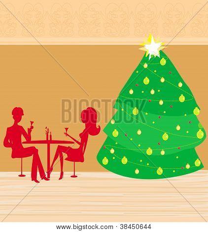 couple on romantic Christmas Dinner