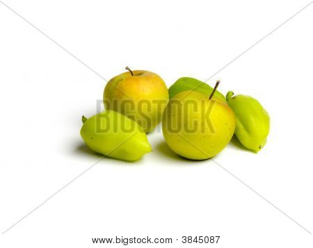 Green Paprika And Apple Isolated