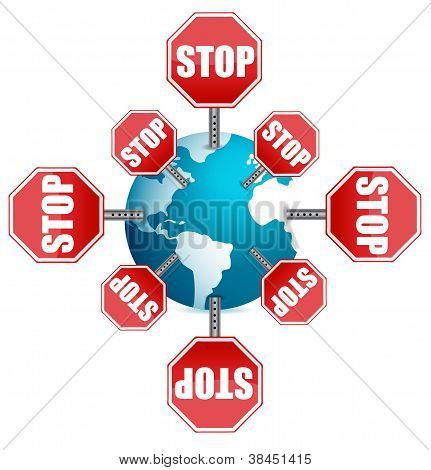 Stop Sign Around The Globe