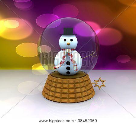 Glass ball with Snowman - 3D