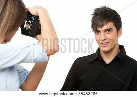 Young Male Model Posing At Camera.