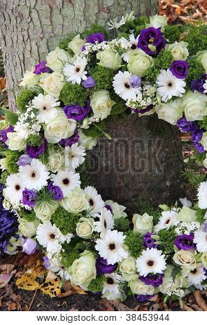 Sympathy Wreath In White And Purple