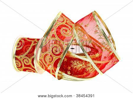 Transparent Red And Gold Christmas Ribbon