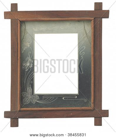 Wooden frame with broken glass