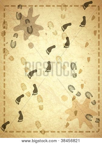 Vintage Background With  Foot Prints