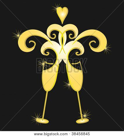 Two clinking champagne glasses