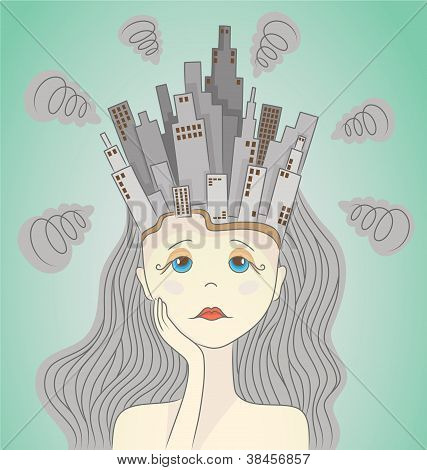 Polluted city in woman head.