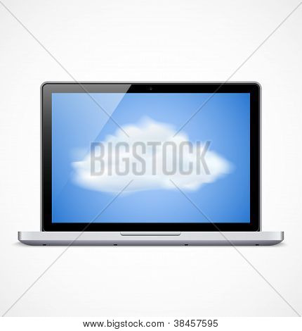Laptop with cloud icon