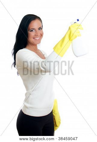 Happy Housewife With Window Cleaner. Isolated On White.