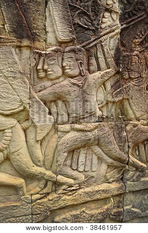 Detail Of Carvings In Angkor Thom,unesco World Heritage,cambodia.